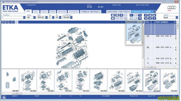 Phần mềm tra mã phụ tùng AUDI EPC 1/2015