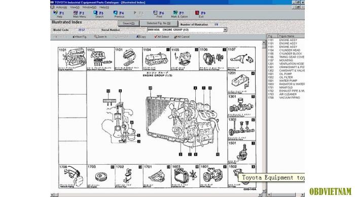 Phần mềm tra mã phụ tùng TOYOTA INDUSTRIAL EQUIQMENT  V1.76